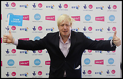 Boris Johnson backstage at the Celebration of the 2012 Olympic Games volunteering one year on at the  Queen Elizabeth Olympic Park.<br /> Mayor of London Boris Johnson and Lord Coe will be taking to the stage at Go Local to encourage a new drive in volunteering one year on from the Games. Also present are multi-platinum selling pop rock band McFly; world famous comedian Eddie Izzard, Brit Award nominated The Feeling, and Britain'Got Talent winners Attraction, in addition to stars Jack Carroll and Gabz. The event will be the UKs biggest ever celebration of volunteering and first Olympic and Paralympic legacy event at Queen Elizabeth Olympic Park.<br /> London, United Kingdom<br /> Friday, 19th July 2013<br /> Picture by Andrew Parsons / i-Images