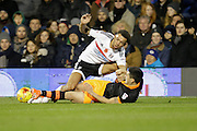 Fernando Forestieri of Sheffield Wednesday and Ryan Fredericks of Fulham during the EFL Sky Bet Championship match between Fulham and Sheffield Wednesday at Craven Cottage, London, England on 19 November 2016. Photo by Jarrod Moore.