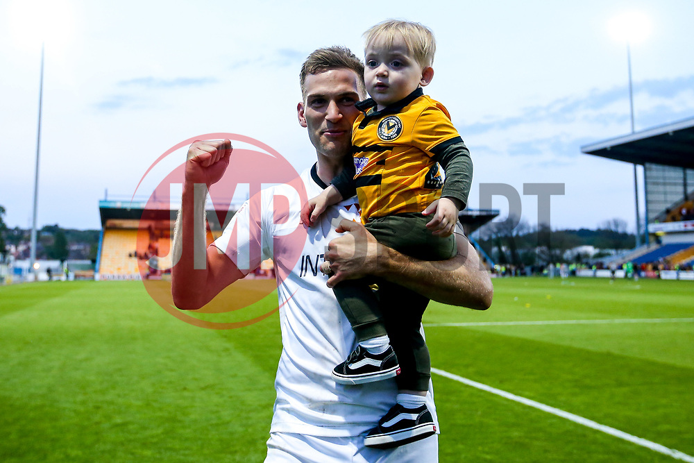 Mickey Demetriou of Newport County celebrates with his son after winning through to the Sky Bet League Two Playoff Final - Mandatory by-line: Robbie Stephenson/JMP - 12/05/2019 - FOOTBALL - One Call Stadium - Mansfield, England - Mansfield Town v Newport County - Sky Bet League Two Play-Off Semi-Final 2nd Leg