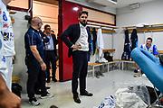 Gianmarco Pozzecco, <br /> AX Armani Exchange Olimpia Milano - Banco di Sardegna Dinamo Sassari<br /> LBA Serie A Postemobile 2018-2019 Playoff Semifinale Gara 2<br /> Milano, 31/05/2019<br /> Foto L.Canu / Ciamillo-Castoria