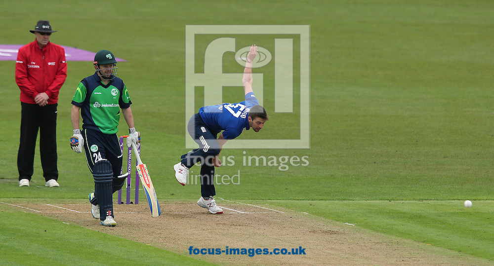 Mark Wood bowls for England during the One Day International match at the Village, Malahide<br /> Picture by Lorraine O'Sullivan/Focus Images Ltd +353 872341584<br /> 08/05/2015