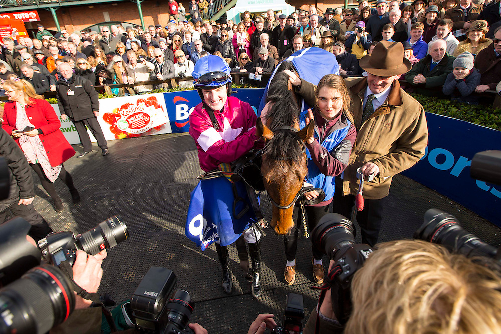 Horse Racing - Fairyhouse Easter Festival, Monday 28th March 2016<br /> Ger Fox celebrates with Rogue Angel after winning the 2016 Grand National<br /> Photo: David Mullen /www.cyberimages.net / 2016