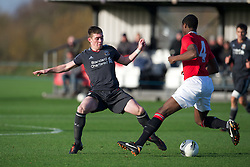 MANCHESTER, ENGLAND - Friday, November 25, 2011: Liverpool's Jack Dunn in action against Manchester United during the FA Premier League Academy match at the Carrington Training Ground. (Pic by David Rawcliffe/Propaganda)