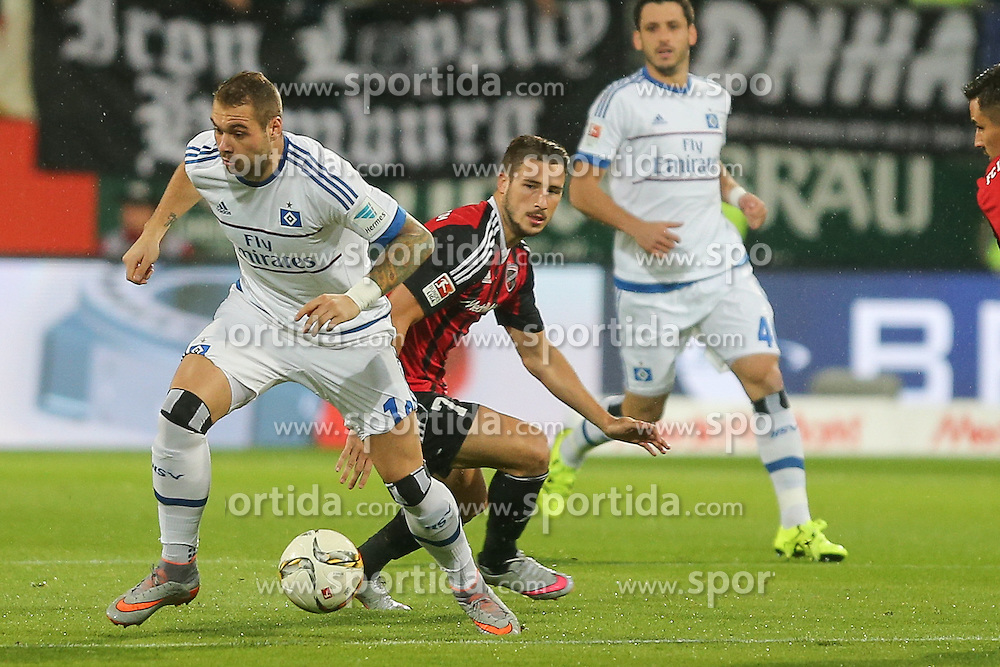 22.09.2015, Audi Sportpark, Ingolstadt, GER, 1. FBL, FC Ingolstadt 04 vs Hamburger SV, 6. Runde, im Bild Zweikampf Pierre-Michel Lasogga (Nr.10, HSV) gegen Mathew Leckie (Nr.7, FC Ingolstadt 04) // during the German Bundesliga 6th round match between FC Ingolstadt 04 and Hamburger SV at the Audi Sportpark in Ingolstadt, Germany on 2015/09/22. EXPA Pictures &copy; 2015, PhotoCredit: EXPA/ Eibner-Pressefoto/ Strisch<br /> <br /> *****ATTENTION - OUT of GER*****