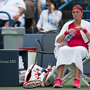 August 21, 2014, New Haven, CT:<br /> Petra Kvitova sits during a changeover during a match against Barbora Zahlavova Strycova on day seven of the 2014 Connecticut Open at the Yale University Tennis Center in New Haven, Connecticut Thursday, August 21, 2014.<br /> (Photo by Billie Weiss/Connecticut Open)