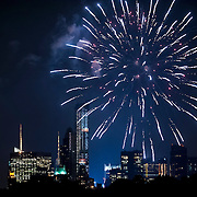 July 17, 2012 - New York, NY : Fireworks illuminate the Central Park South skyline after the New York Philharmonic's performance on Central Park's Great Lawn on Monday evening. CREDIT: Karsten Moran for The New York Times
