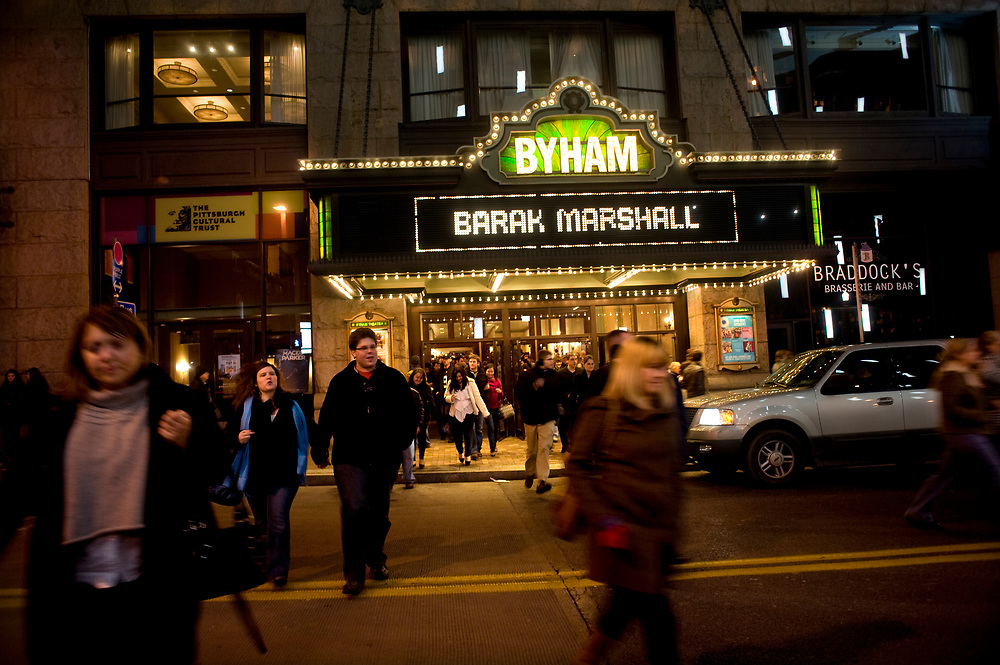Patrons leave the Byham Theatre after the Demetri Martin comedy show in early December.