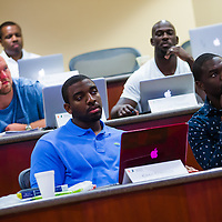 MIAMI, FL - June 24, 2015 -- Seahawks NFL player Greg Scruggs participates in a Legal & Ethical Implications of Executive Decision Making class taught by Professor Patricia Abril at the University of Miami as part of their Miami Executive MBA for Artists & Athletes program on Wednesday, June 24, 2015.  (PHOTO / CHIP LITHERLAND)
