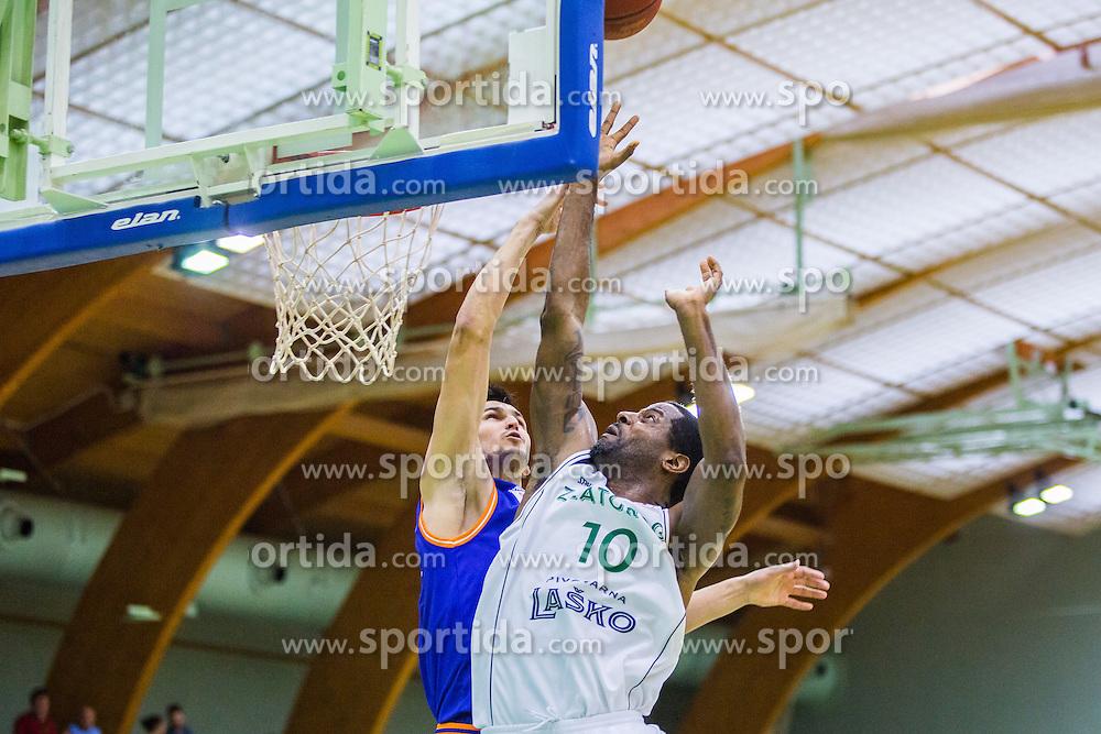 C. Booker of KK Zlatorog during basketball match between KK Zlatorog and KK Helios Suns in 1st match of Nova KBM Slovenian Champions League Final 2015/16 on May 29, 2016  in Dvorana Zlatorog, Lasko, Slovenia.  Photo by Ziga Zupan / Sportida
