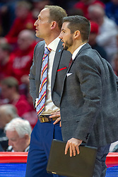 NORMAL, IL - February 16:  Dan Muller and Brendan Mullins during a college basketball game between the ISU Redbirds and the Bradley Braves on February 16 2019 at Redbird Arena in Normal, IL. (Photo by Alan Look)