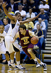 February 27, 2010; Berkeley, CA, USA;  Arizona State Sun Devils guard Derek Glasser (12) is guarded by California Golden Bears forward Jamal Boykin (10) during the first half at Haas Pavilion.  California defeated Arizona State 62-46