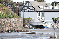03/01/2014.   Boat washed up  in An Spideal  Galway  destroyed by the storms . Photo:Andrew Downes.