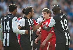 NEWCASTLE-UPON-TYNE, ENGLAND - Sunday, April 1, 2012: Liverpool's John Flanagan argues with Newcastle United's James Perch during the Premiership match at St James' Park. (Pic by David Rawcliffe/Propaganda)
