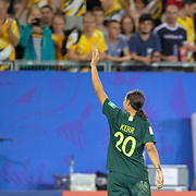 GRENOBLE, FRANCE June 18.   Sam Kerr #20 of Australia leaves the field to the applause of the Australian fans after her four goal performance during the Jamaica V Australia, Group C match at the FIFA Women's World Cup at Stade des Alpes on June 18th 2019 in Grenoble, France. (Photo by Tim Clayton/Corbis via Getty Images)