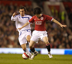 Manchester, England - Tuesday, March 13, 2007: Manchester United's Ju-sung Park and Europe XI's Andrea Pirlo during the UEFA Celebration Match at Old Trafford. (Pic by David Rawcliffe/Propaganda)