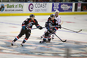 KELOWNA, CANADA - SEPTEMBER 24:  Jack Cowell #8 of the Kelowna Rockets and Kyle Topping #24 of the Kelowna Rockets skate at the Kelowna Rockets Game on September 24, 2016 at Prospera Place in Kelowna, British Columbia, Canada.  (Photo By Cindy Rogers/Nyasa Photography,  *** Local Caption ***