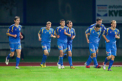 Marko Drevensek of Domzale, Jernej Smukavec of Domzale,Tadej Apatic of Domzale, Dalibor Teinovic of Domzale,  Matic Seferovic of Domzale, Ivan Knezovic of Domzale and   Rok Hanzic of Domzale during the football match between NK Domzale and MIK CM Celje, played in the 10th Round of Prva liga football league 2010 - 2011, on September 22, 2010, Spors park, Domzale, Slovenia. Domzale defeated Celje 1 - 0. (Photo by Vid Ponikvar / Sportida)