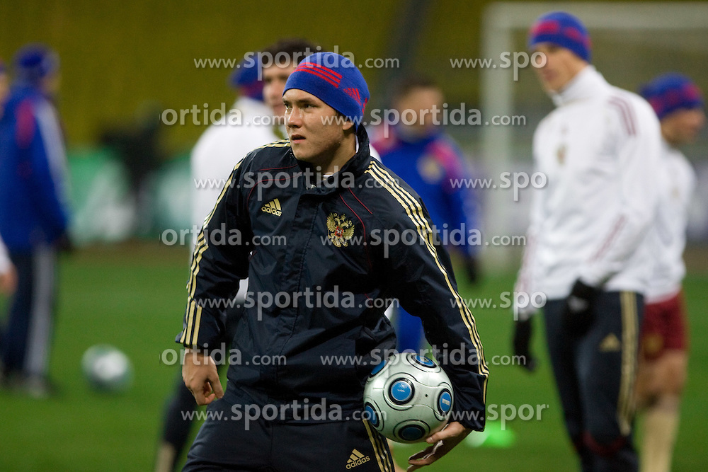 at practice of Russian team a day before FIFA World Cup 2010 Qualifying match between Russia and Slovenia, on November 13, 2009, in Stadium Luzhniki, Moscow, Russia.  (Photo by Vid Ponikvar / Sportida)