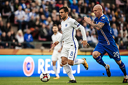 September 2, 2017 - Tampere, Finland - Iceland's Emil Hallfredsson and Finland's Perparim Hetemaj fight for the ball during the FIFA World Cup 2018 Group I football qualification match between Finland and Iceland in Tampere, Finland, on September 2, 2017. (Credit Image: © Antti Yrjonen/NurPhoto via ZUMA Press)