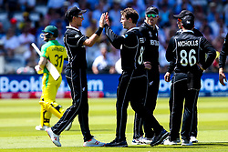 Lockie Ferguson of New Zealand celebrates taking the wicket of David Warner of Australia - Mandatory by-line: Robbie Stephenson/JMP - 29/06/2019 - CRICKET - Lords - London, England - New Zealand v Australia - ICC Cricket World Cup 2019 - Group Stage