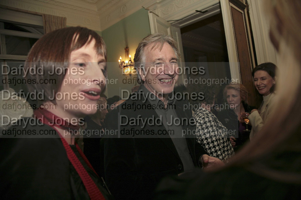 ALAN RICKMAN, PARTY AT DARTMOUTH HOUSE AFTER A PREMIERE SCREENING OF PERFUME AT THE CURZON. LONDON.<br />5 December 2006. ONE TIME USE ONLY - DO NOT ARCHIVE  &copy; Copyright Photograph by Dafydd Jones 248 CLAPHAM PARK RD. LONDON SW90PZ.  Tel 020 7733 0108 www.dafjones.com