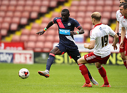 Newcastle United's Papiss Cisse tries to get past Sheffield United's Jay McEveley - Mandatory by-line: Robbie Stephenson/JMP - 26/07/2015 - SPORT - FOOTBALL - Sheffield,England - Bramall Lane - Sheffield United v Newcastle United - Pre-Season Friendly