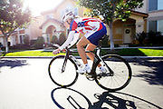 Track cyclist Dotsie Bausch rides her bike near her home on Jan 19, 2012 in Irvine, CA..Photo by Joe Kohen for The Daily.