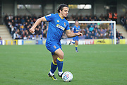AFC Wimbledon attacker Egli Kaja (21) dribbling during the EFL Sky Bet League 1 match between AFC Wimbledon and Plymouth Argyle at the Cherry Red Records Stadium, Kingston, England on 21 October 2017. Photo by Matthew Redman.