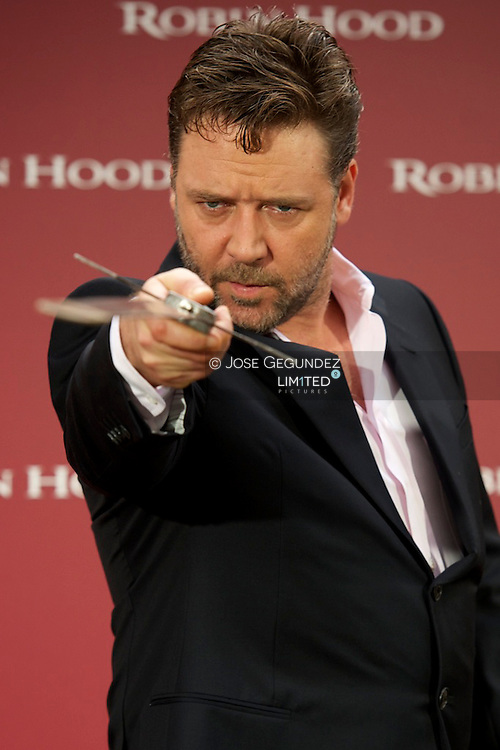 Australian actor Rusell Crowe attends Robin Hood Photocall at Villamagna Hotel in Madrid