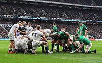 LONDON, ENGLAND - MARCH 17: England and Ireland forwards prepare for a scrum during the NatWest Six Nations Championship match between England and Ireland at Twickenham Stadium on March 17, 2018 in London, England. (Photo by Ashley Western - MB Media via Getty Images)