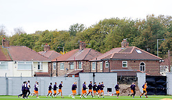 LIVERPOOL, ENGLAND - Wednesday, November 7, 2012: Liverpool's players warm-up during a training session at the club's Melwood Training Ground ahead of the UEFA Europa League Group A match against FC Anji Makhachkala. (Pic by Vegard Grott/Propaganda)