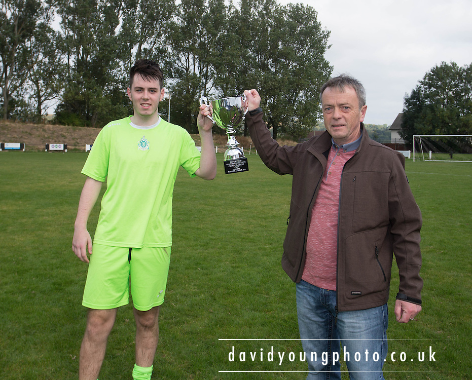 Hibs manager Rory Malone and son Chris with the Riverview Utilities Consulting Consolation Cup - Dundee Hibs (green) v Docs AFC (red)  - Riverview Utilities Consulting Consolation Cup final - Dundee Summer League FA<br /> <br /> <br />  - &copy; David Young - www.davidyoungphoto.co.uk - email: davidyoungphoto@gmail.com