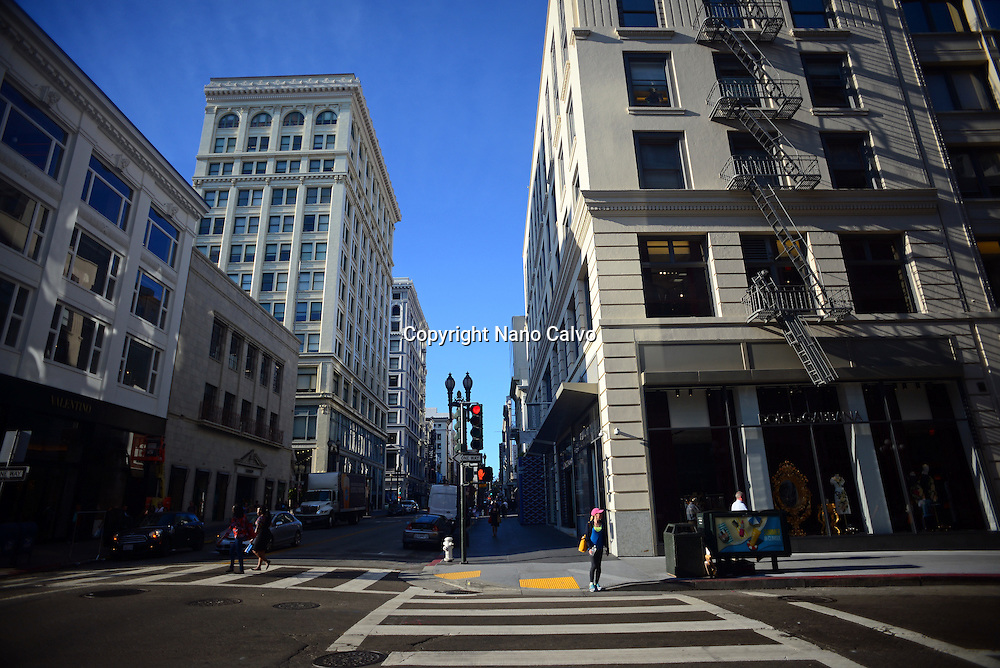 Commercial streets off Union Square, San Francisco.