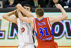 Edin Bavcic (9) of Olimpija vs Victor Khryapa of CSKA  at Euroleague basketball match between KK Union Olimpija, Ljubljana and CSKA Moscow, on January 7, 2010 in Arena Tivoli, Ljubljana, Slovenia. CSKA defeated Olimpija 80:77 after overtime. (Photo by Vid Ponikvar / Sportida)