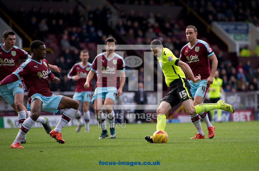Jamie Murphy of Brighton and Hove Albion (2nd right) prepares to shoot during the Sky Bet Championship match at Turf Moor, Burnley<br /> Picture by Russell Hart/Focus Images Ltd 07791 688 420<br /> 22/11/2015