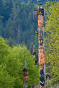 Chief Kadashan totem poles on Chief Shakes Island; Wrangell, Alaska.