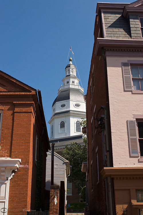 Annapolis, Maryland--The dome of the Maryland State house is seen in this view, looking from Main Street up an alley. The Maryland State House is the oldest state house still in legislative use. It was designated a National Historic Landmark in 1960.