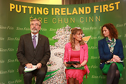 Sinn Fein's Party Leader Gerry Adams sits with their European Parliament Elections candidates Martina (L) Anderson and Lynn Boylan (R), during the launch of their party's Manifesto for the European Parliament Elections, in Belfast, Northern Ireland, Monday May 12th, 2014. Sinn Fein are putting forward four candidates for the European Elections on May 22. Monday, 12th May 2014. Picture by i-Images