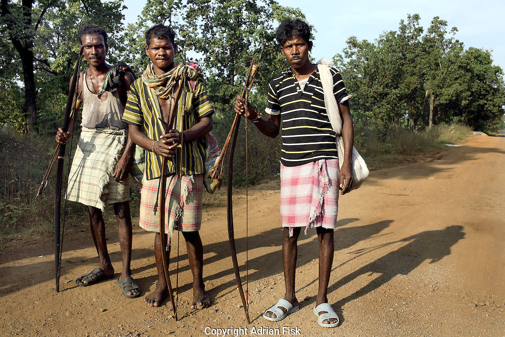 Not all members of the Salwa Judam militia are armed with rifles, some simply use bows and arrows like these pictured on the road leading to the Errabore Salwa Judam camp.