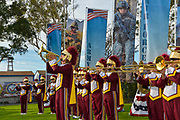 USC Marching Band Playing at the Crisp Super Bowl Event at the American Legion in Newport Beach