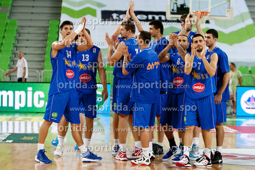 Team Bosnia after friendly basketball match between National teams of Slovenia and Bosnia i Hercegovina of Adecco Ex-Yu Cup 2012 as part of exhibition games 2012, on August 3rd, 2012, in Arena Stozice, Ljubljana, Slovenia. (Photo by Urban Urbanc / Sportida)