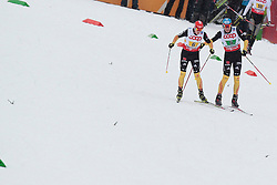 24.02.2013, Langlaufstadion, Lago di Tesero, ITA, FIS Weltmeisterschaften Ski Nordisch, Nordische Kombination, Langlauf Team, im Bild Tino Edelmann (GER) // Tino Edelmann of Germany and Eric Frenzel (GER) // Eric Frenzel of Germany during the Mens Nordic Combined Team Race of the FIS Nordic Ski World Championships 2013 at the Cross Country Stadium, Lago di Tesero, Italy on 2013/02/24. EXPA Pictures ©  2013, PhotoCredit: EXPA/ Federico Modica