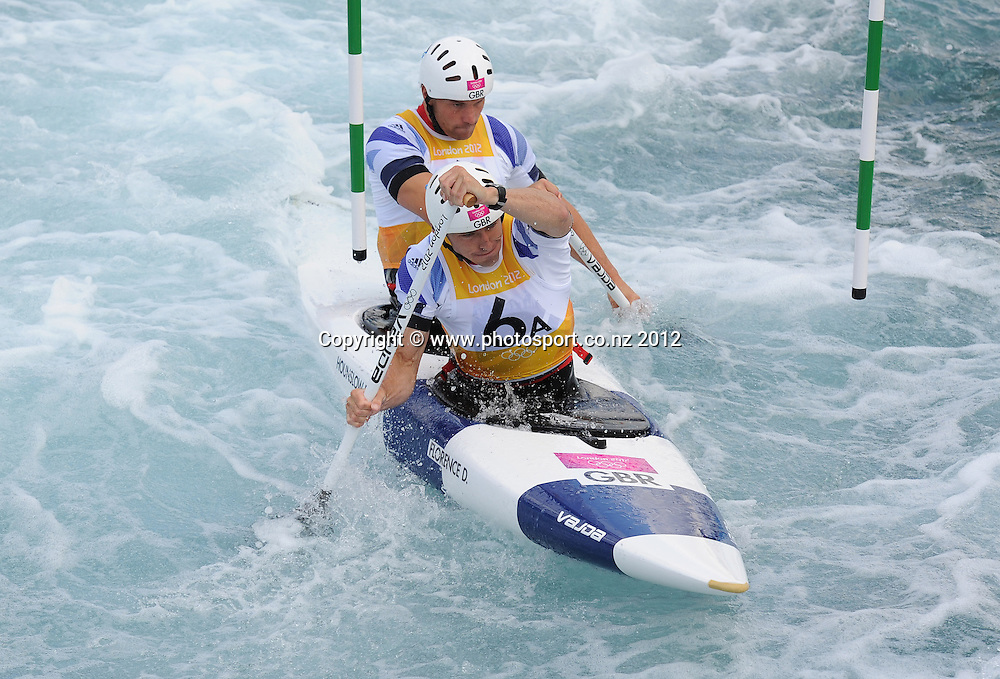 Silver medalists David Florence and Richard Hounslow during the Men's C2 Canoe Slalom at the Lee Valley Whitewater Centre, London, United Kingdom. Thursday 2 August 2012. Photo: Andrew Cornaga/Photosport.co.nz