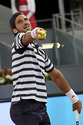 May 11, 2017 - Madrid, Spain - Feliciano Lopez  of Spain  against Novak Djokovic  of  Served during day six of the Mutua Madrid Open tennis at La Caja Magica on May 11, 2017 in Madrid, Spain. (Credit Image: © Oscar Gonzalez/NurPhoto via ZUMA Press)