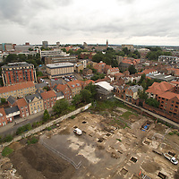Aerial photograph of archeological dig at St Annes in Norwich, Norfolk, England