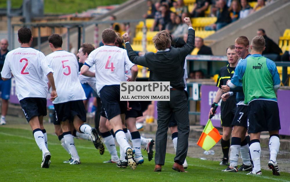 Falkirk manager Steven Pressley punches the air to celebrate Falkirks late equaliser, Livingston v Falkirk, SFL Division 1