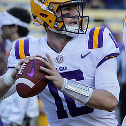 Sep 23, 2017; Baton Rouge, LA, USA; LSU Tigers quarterback Danny Etling (16) before a game against the Syracuse Orange at Tiger Stadium. Mandatory Credit: Derick E. Hingle-USA TODAY Sports