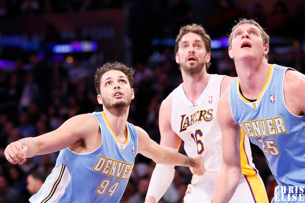 05 January 2014: Denver Nuggets shooting guard Evan Fournier (94) vies for the rebound with Los Angeles Lakers center Pau Gasol (16) next to Denver Nuggets center Timofey Mozgov (25) during the Denver Nuggets 137-115 victory over the Los Angeles Lakers at the Staples Center, Los Angeles, California, USA.