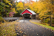 This beautiful covered bridge sits over the Pemigewasset River in Franconia Notch State Park at Flume Gorge.