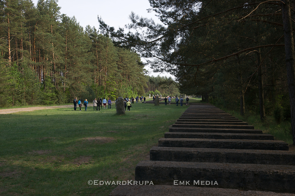 Stone representation of the former railroad tracks leading to Treblinka.